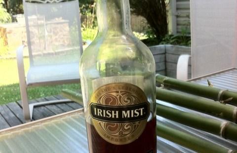 A half-empty bottle of Irish Mist