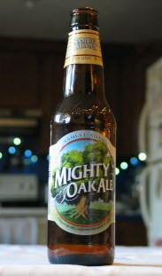 a bottle of Mighty Oak Ale by Samuel Adams