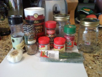 Assortment of spice containers