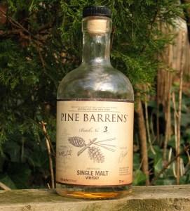 A bottle of Pine Barrens Single Malt Whisky, batch 3