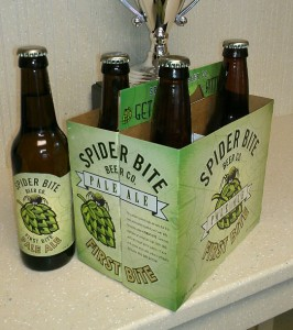 A six-pack of 12oz Spider Bite Pale Ale bottles