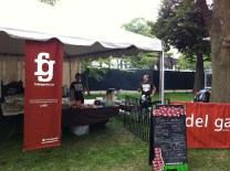 Signs and workers at the Fidel Gastro food tent at Toronto's Festival of Beer