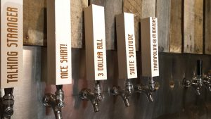 Several beer taps at the soon-to-be opened Square Head Brewing