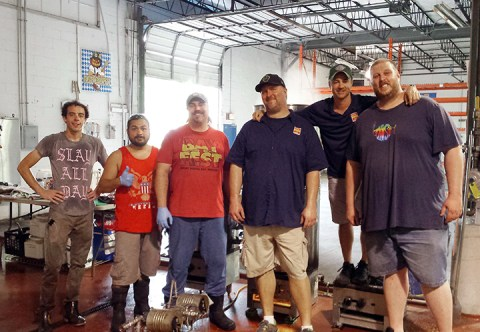 From Left to Right: Head Brewer Greg Maisch, Lead Brewer Jon Gomez, Mike Pedersen, Home Brewer Chris Kelley, Owner/Brewer Rick Sobatka, and home brewer Greg Kelley.