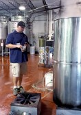 Chris Kelley waits for his wort to boil before adding hops