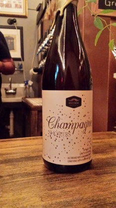 A bottle of Champagne Showers from Moustache Brewing Co in Riverhead, New York