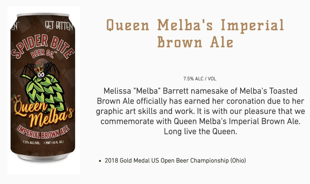 Queen Melba's Imperial Brown Ale, 2018 Gold Medal US Open Beer Championship (Ohio)