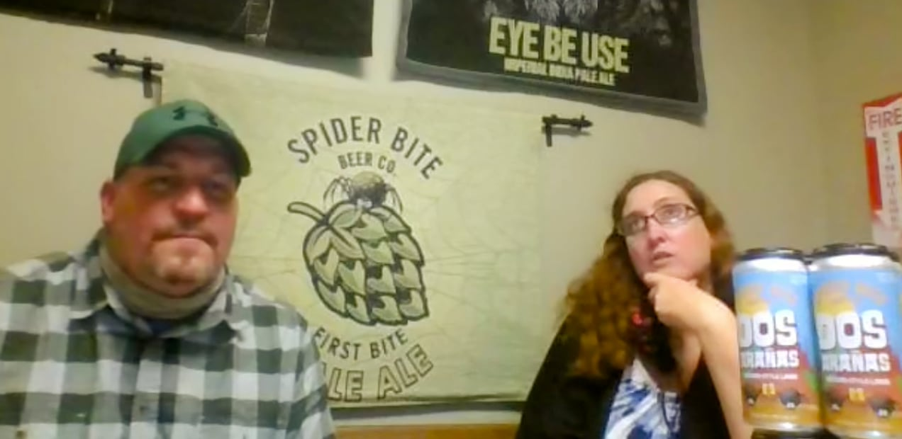Melba, on right, discusses beer and beer labeling with MFR Sales