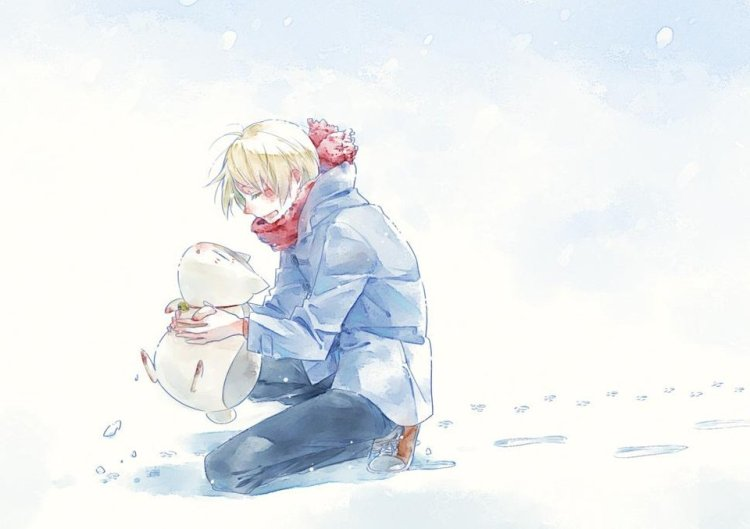 Natsume and nyanko in snow
