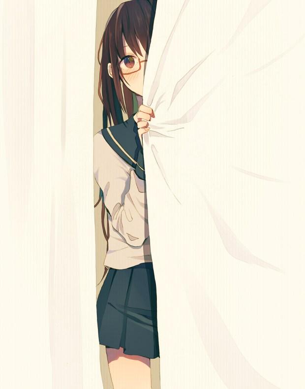 anime girl hiding behind sheet