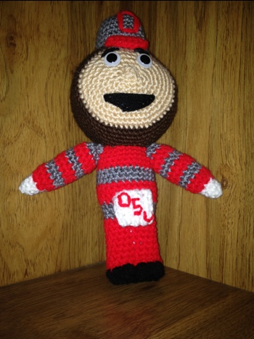Crocheted Brutus the Buckeye Pattern