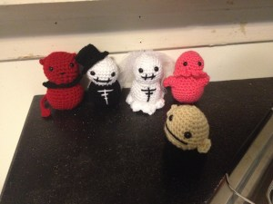 These are from the book Creepy Cute Crochet. I decided they were going to have a wedding ceremony on my counter.