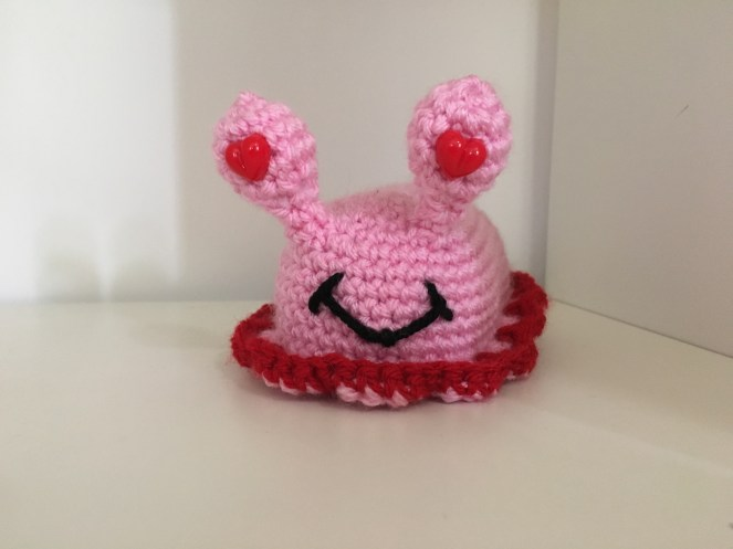 Crocheted pink slug drunken aunt wendy
