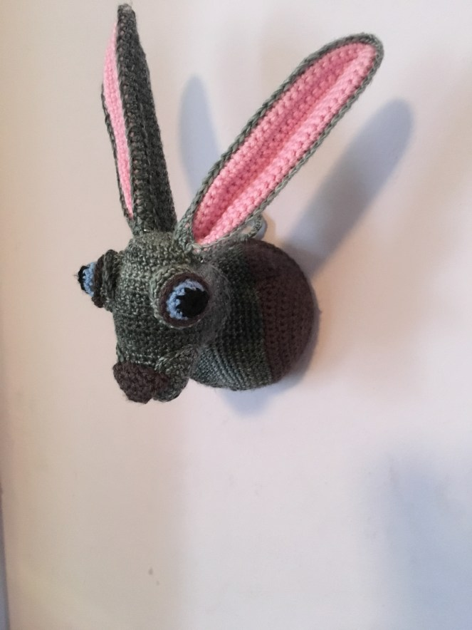 Crocheted taxidermy rabbit