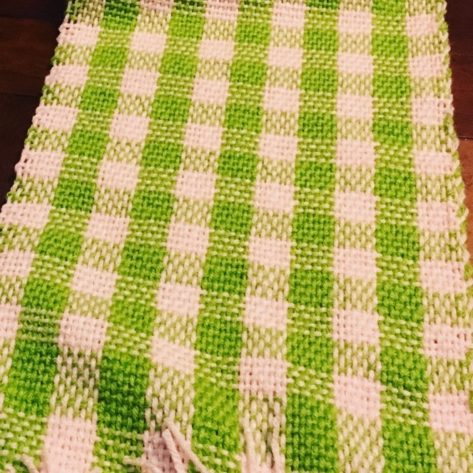 Handwoven plaid scarf