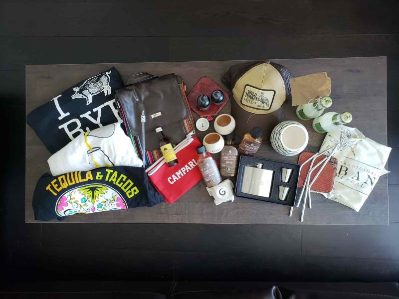 Many swag items ontop of table