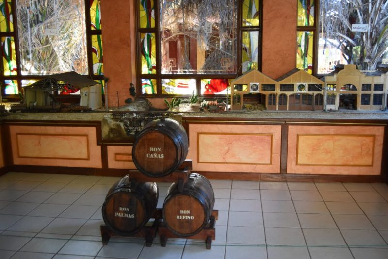 Several small rum barrels in a display
