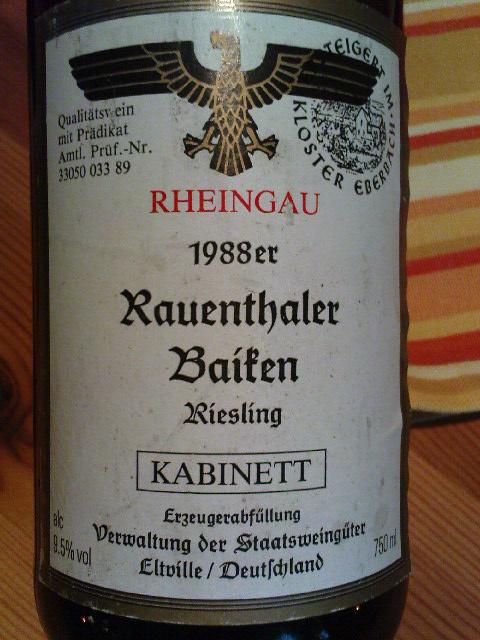 1988 Staatsweingüter Rauenthaler Baiken Riesling Kabinett