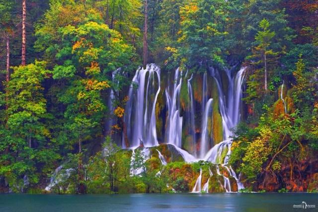Эффектно снять текущую воду. Водопад на Плитвицких озёрах. Хорватия