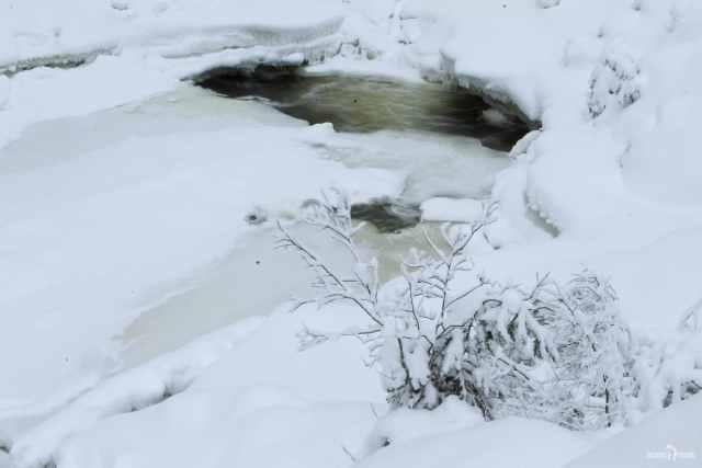 Замёрзшее русло Суны у Кивача зимой. Карелия. Россия. Север