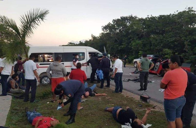 Trágico accidente deja una mujer muerta y 20 heridos en carretera Tulum
