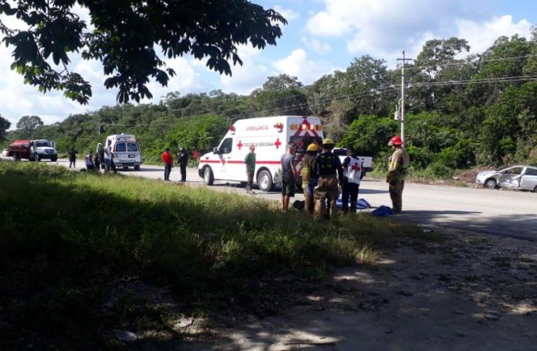 Choque fatal  en la carretera Tulum-Felipe Carrillo Puerto