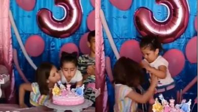 Photo of VIDEO COMPLETO: niña que sopla la vela de cumpleaños de su hermana