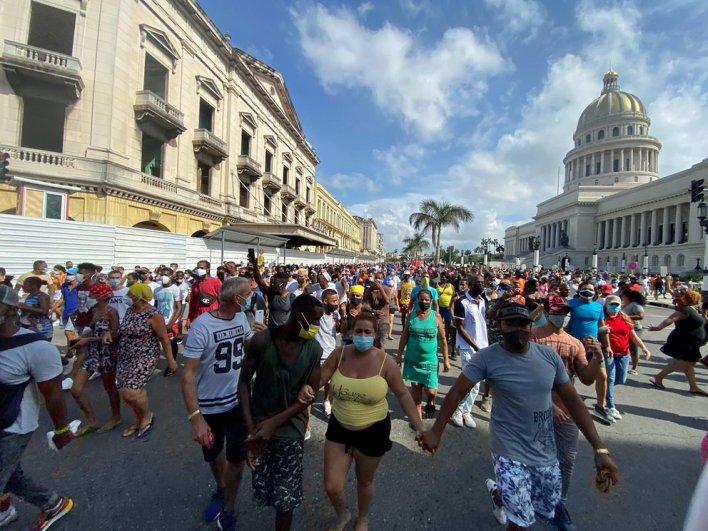 San Antonio de los Baños, el primer poblado en salir a la calle, pero las marchas se replicaron en toda la isla