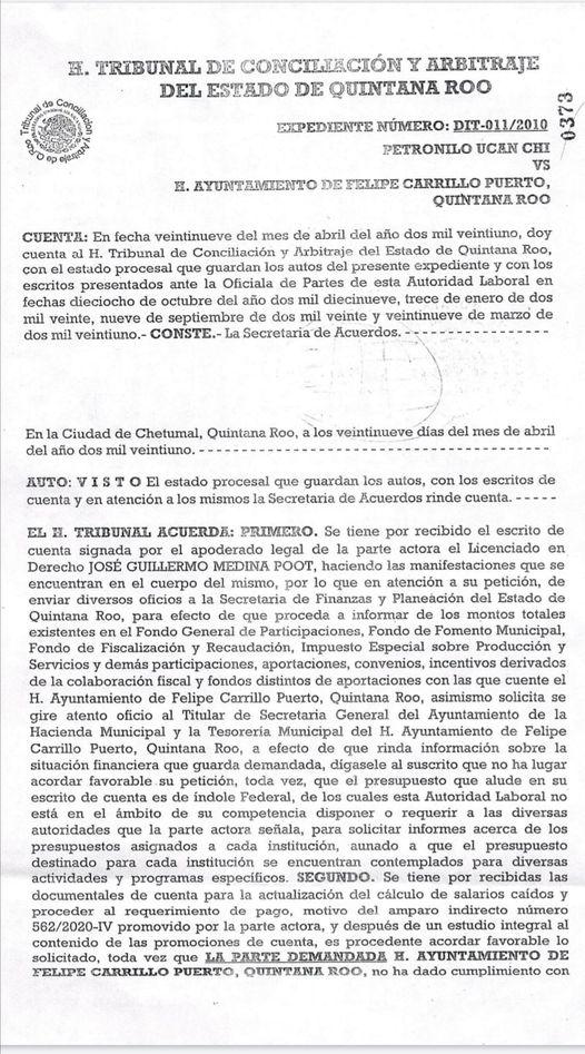 Trabajadores sindicalizados de Felipe Carrillo Puerto que fueron despedidos injustificadamente solicitan la intervención del Congreso del Estado