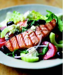 Grilled Salmon with Greek Salad