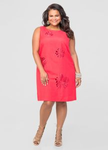 Floral Cut Out Linen Shift Dress on sale now + 15% cash back at Ashley Stewart