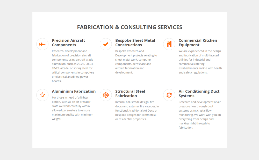 Fabrication Services on Stephen Clark website designed by Dryad Media web design