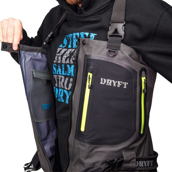 DRYFT Primo zip front wader inside