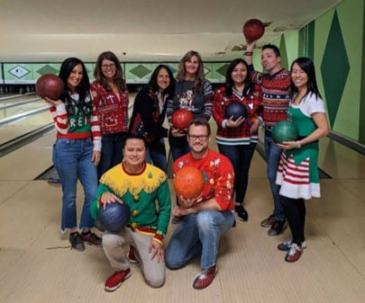 OFM Team ugly sweater bowling party