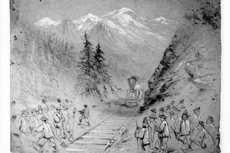 Joseph Becker, Railroad Pass with Chinese Workers, 1869-1870. Becker Archive, Boston College Fine Arts Dept.