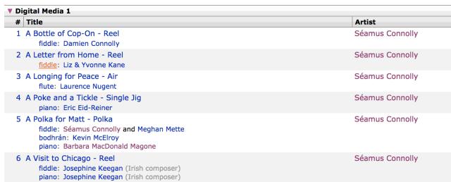 Screenshot of Connolly data in MusicBrainz