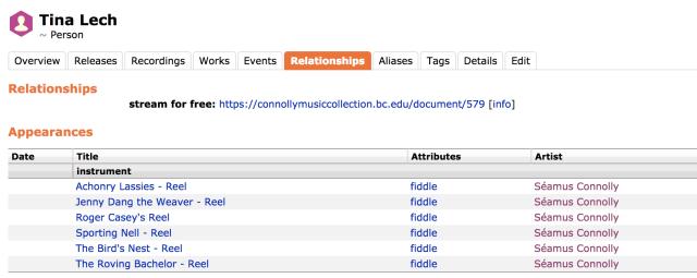 Screenshot of MusicBrainz data for Tina Lech