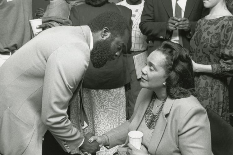 Coretta Scott King Coretta Scott with Dan Bunch of the Black Studies program, Boston College special guests and events photographs, John J. Burns Library, Boston College.