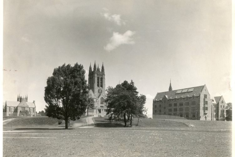Saint Mary's Hall, Gasson Hall, and Devlin Hall in spring, by Clifton Church, John J. Burns Library, Boston College.