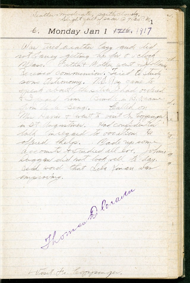 Page 1 of Thomas D. Craven Diary from January 1, 1917