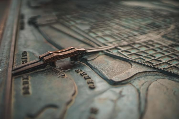 Raised map showing a bridge in Charleston