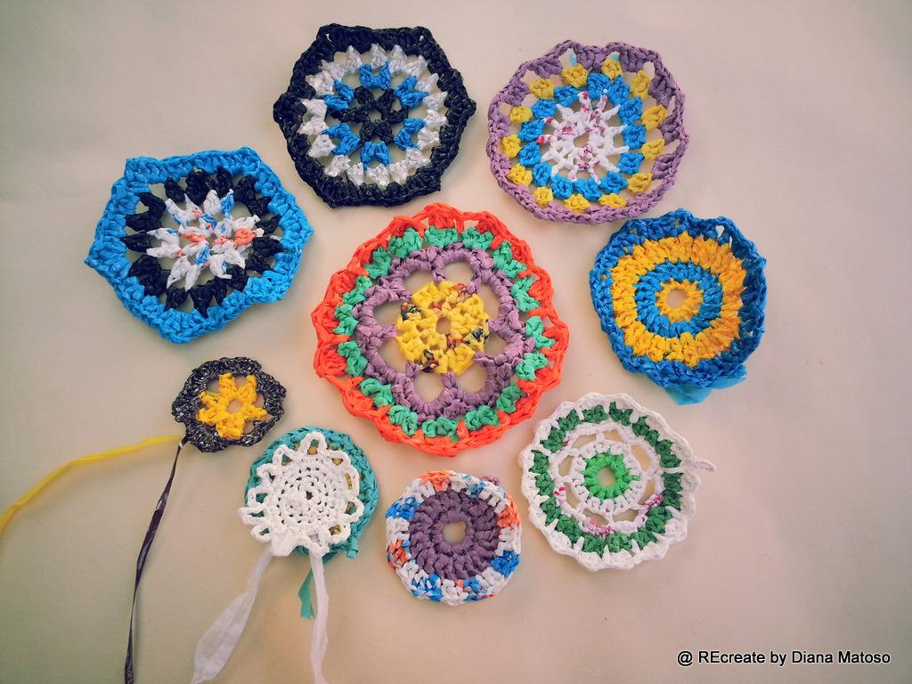 Mandalas from plastic bags