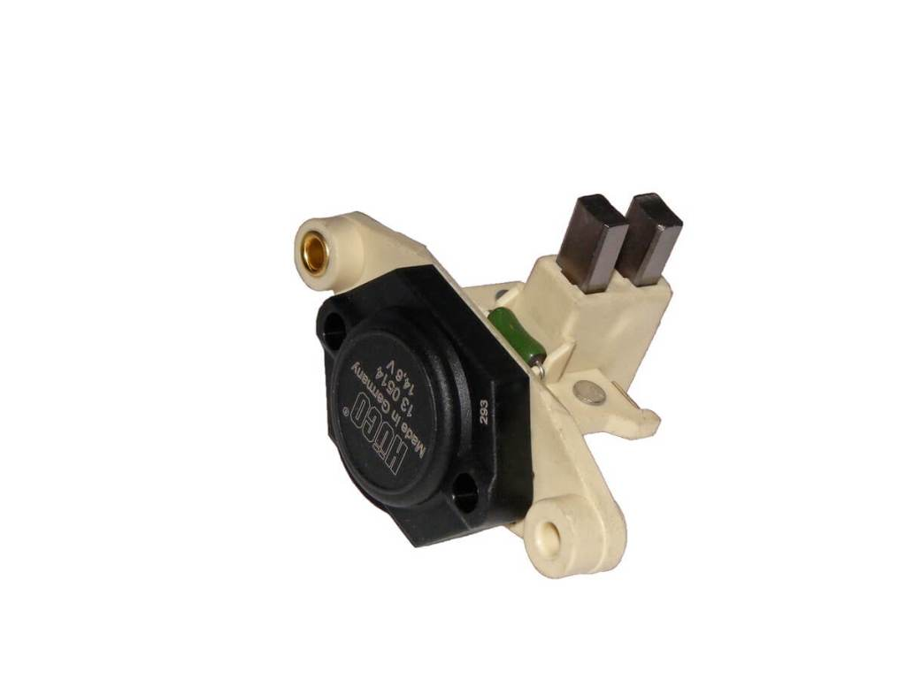 Voltage regulators are usually integrated into the alternators, but some can be found next to it.
