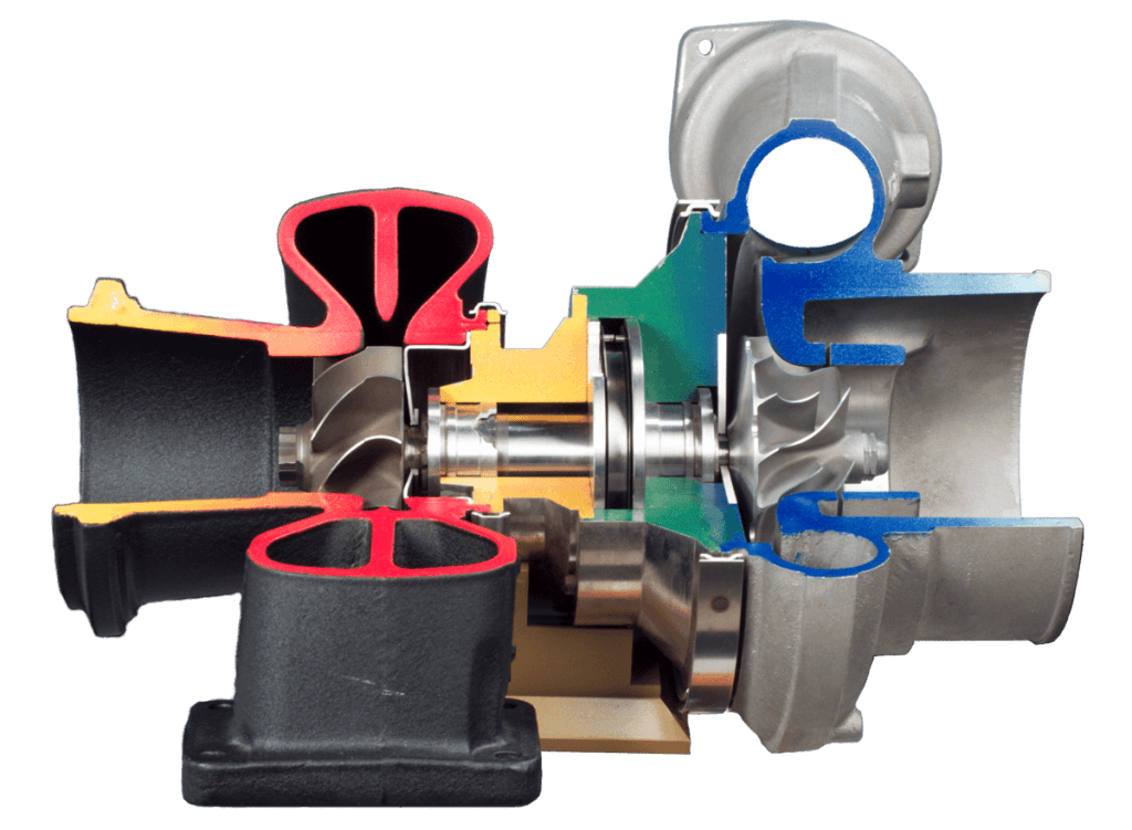 The hot side of a turbocharger is appropriately coloured red, while the cold side of a turbocharger is coloured blue.