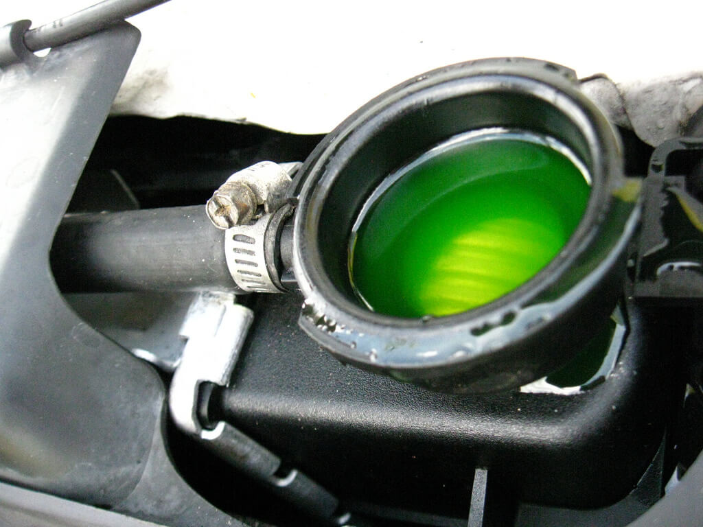 Coolant is a mixture of antifreeze, distilled water, and additives.