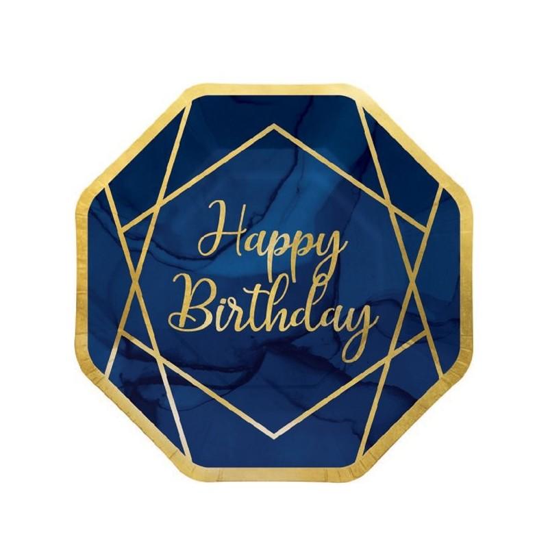 assiettes happy birthday bleu marine et dore 8 personnes