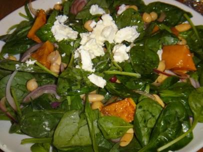 Butternut squash, garbanzo bean spinach salad with feta
