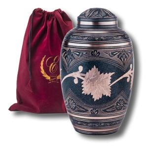 Beautifully hand crafted Solid Brass Adult Urn with Marble Patina Finish. Comes with elegant Burgundy velvet pouch. - DSD Brands