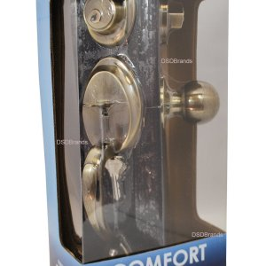 """Comfort"" Entry Lock Set with Door Lever Handle, Antique Bronze Finish - DSD Brands"