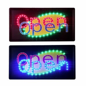 """Constructor"" Dual Open Sign, 10""x19"" animated Motion LED Neon Light, On/Off and 2 Way Animation Switch + Chain - DSD Brands"